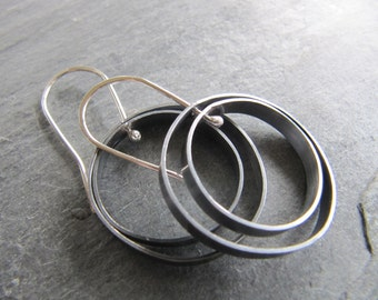 Silver Orbit Earrings in Oxidized Sterling Silver