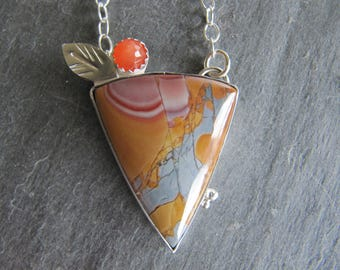 Necklace of Colorful Mescalero Jasper and  Peach Moonstone in Sterling Silver Setting