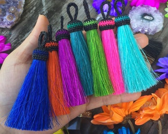"Bold Rustic Horse Hair Tassels, 3.5"", Handmade Horse Tassel Pendant / Western, Keychain, Adornment, Jewelry Making, Pick your color, 1pc"