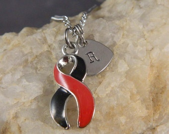 In Memory of Firefighter Loss on Duty with Stainless Heart Initial Necklace