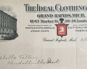 Antique Letterhead for The IDEAL CLOTHING CO., Grand Rapids, Michigan 1901' -- Free Shipping