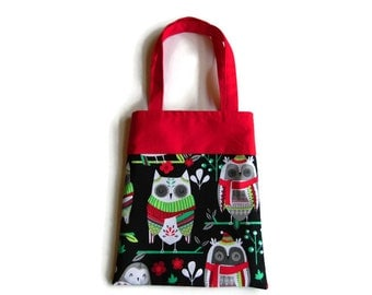 Fabric Christmas Gift/Goodie Bag - Owls