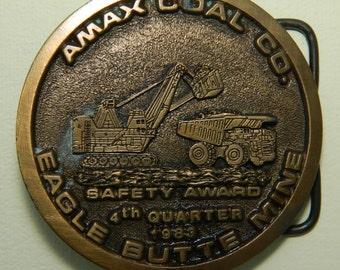 Amax Coal Company Eagle Butte Mine Belt Buckle 4th Quarter 1983 Safety Award Buckle Spec Cast Inc. Rockford Il. 61111 Round Belt Buckle
