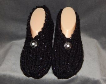 Handknitted Black and Sliver Womens Slippers size 6, 7, or 8