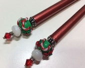 Reserved-- Hairsticks Ruby Christmas In Artisan Glass