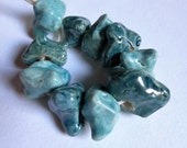 Artisan made ceramic beads - set of 10 - Blue Nuggets