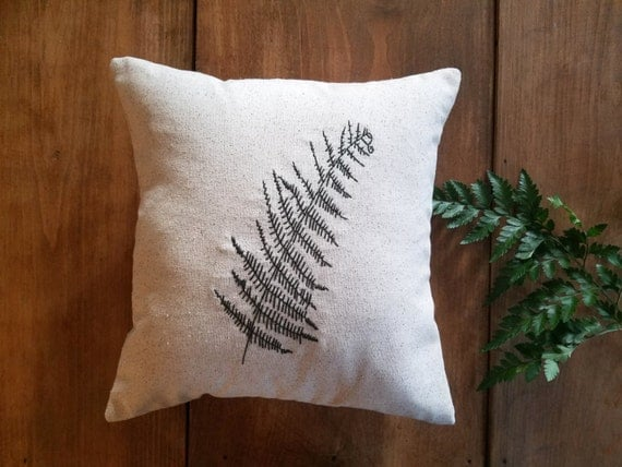 Free shipping embroidered fern pillow spring summer home
