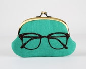 Metal frame coin purse - Eyeglass on teal - Big smile / Japanese fabric / Echino / green blue neon lime / black glasses
