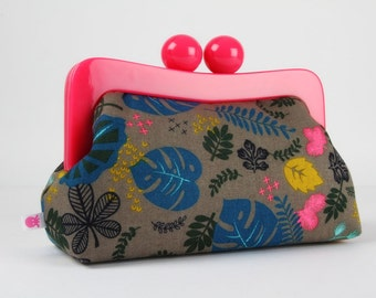 Resin frame clutch bag - Leaves linen in dark grey - Awesome purse / Fuchsia frame / Japanese fabric / Blue neon pink black mustard yellow