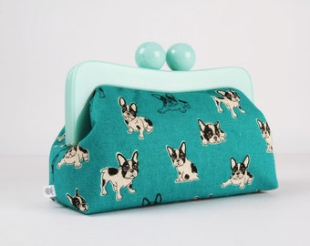 Resin frame clutch bag - Boston terrier on teal - Awesome purse / Mint green frame / Japanese fabric / black and white dogs