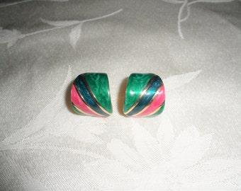Vintage Multi Color Enamel Gold Tone Pierced Earrings