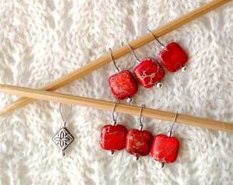 Knitting Stitch Markers - Aqua Terra Red Jasper  - snag free loops - 12mm square stones and silver - set of 5 7 9 - two loop sizes available