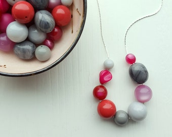 plum duff - necklace - remixed vintage lucite - pink and grey necklace