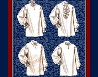 DASHING HISTORICAL SHIRTS-Sewing Pattern-Four Styles-Loose Fitting-Cuffs-Neck-Sleeves Ruffles-Front Flounces-Uncut-Size Xlg-XXxl -Rare
