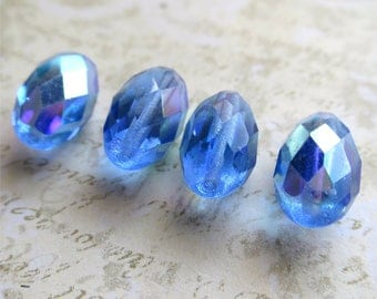 Sapphire blue faceted Czech glass beads oval 15mm