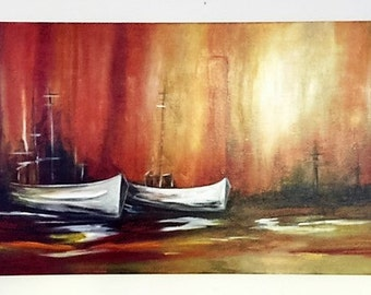 "Art, Painting, Original, Handmade, Abrstract, Acrylic, Modern,   By Maite Tobon ""Boats"" 30""W x 15""H x 3/4Deep"