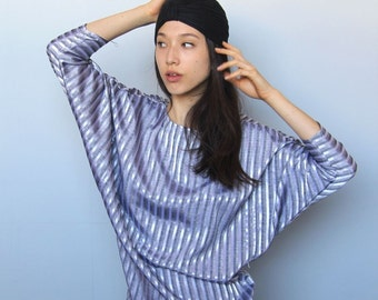 cityscapes top -- vintage metallic silver striped dolman sleeve top S/M