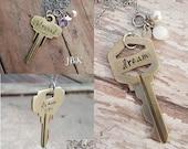 Keywords stamped key necklace