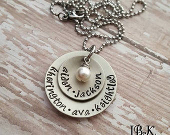 Custom hand stamped, Personalized, JBK, layered disc necklace with Swarovski pearl