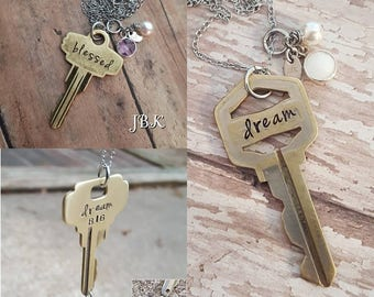Keywords stamped key necklace