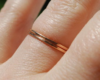 Pair 14K Solid Rose Gold Stacking Rings Set Size 8 US Band 14ct