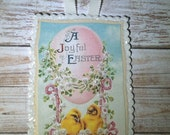 Easter Greeting Card Paper Glittered Plaque With Ribbon Hanger And Envelope On Sale