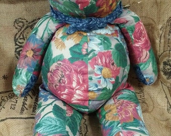 floral fabric teddy bear