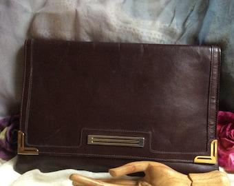 Vintage Phillippe brown leather envelope bag, rich brown leather flat clutch handbag, brown leather flat Phillippe large clutch purse