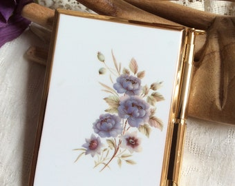 Vintage Small Stratton England note pad compact, Something Blue flowers note pad pen compact,