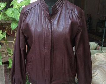 Vintage oxblood leather woman's bomber jacket, dark maroon/brown zip front woman's leather jacket, sz 10 dark burgundy brown leather jacket