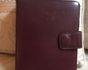 Vintage heavy duty unisex brown leather organizer, professional business notebook/planner, leather notebook 3 rings, sturdy oxblood planner