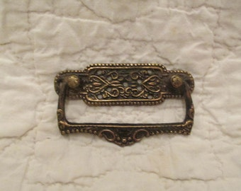 Vintage Brass Pull Handle Ornate Finish