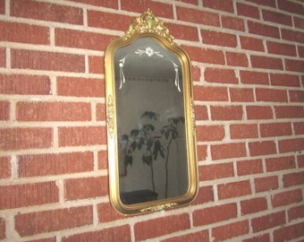 Vintage 1920s Art Deco Ornate Gorgeous 11x24 Etched Wall Mirror