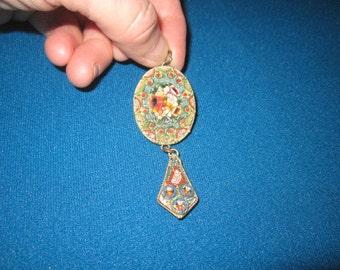 Antique Edwardian Beautiful Italian Micro Mosaic Large 2 Pc Pendant