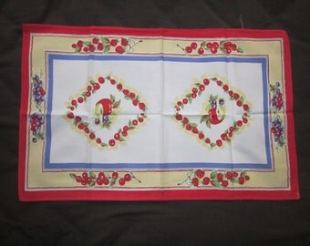 Vintage 1940s Cotton Dish Towel with Red Blue and Yellow Fruit Design
