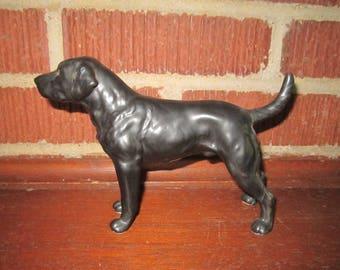 Vintage Beautiful Black Labrador Retriever Lefton Ceramic Dog Figurine