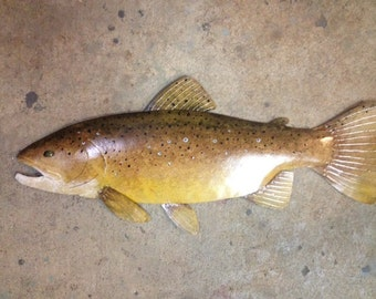Brown Trout Metal Fish Wall  Sculpture 24in Lodge Cottage Lake Cabin Art