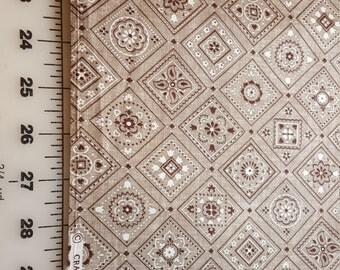 Brown Taupe Bandana Print Cotton Cranston over 2yd