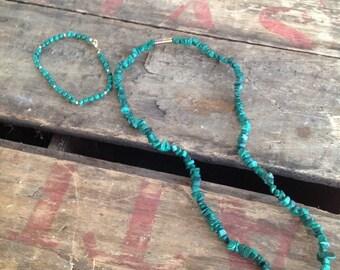 VINTAGE NECKLACE and BRACELET set - vintage beads- cool old piece
