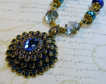 Royal Peacock-dyed opal, pearls, crystals, gold beads, rhinestone pendant, 24 inches or 61 cm
