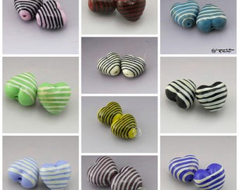Handmade Lampwork Heart Beads Pinstripes Black, Ivory, Yellow, Blue, Purple, Red, Green Earring Pair Heather Behrendt BHV SRA LETeam