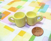Miniature Pottery Hand Turned Mini Cups Mugs in Harvest Yellow for Special Customer