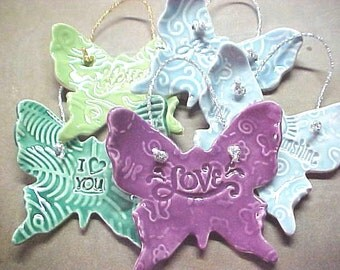 Butterfly Ornament Emerald Fuchsia Sage Baby Blue Clay Pottery Ornament Gift under 10 Grateful LOVE Blessed I (Heart) You