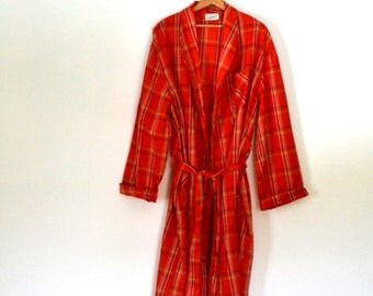 Sale 60s Mens Robe BVD Neva Press Plaid Robe Poly Cotton Blend