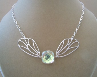 Willow -- Mystic Coated Rock Crystal Quartz Connector Butterfly Wings Necklace