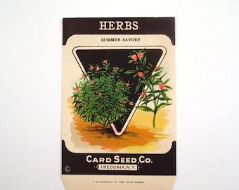 Vintage 1920s Unused Paper Seed Packet Summer Savory