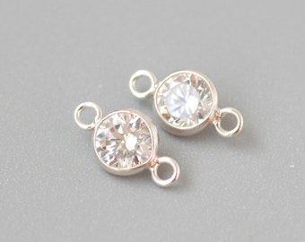 2 pcs Sterling Silver 4.0mm Bezel with 2 Connector 3A white CZ anti tarnish  -made in USA wholesale Jewelry Supply(36714)