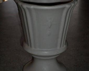 McCoy Pottery matte white Floraline pedestal bowl planter embossed diamond starburst USA #2004