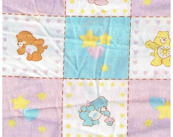 1/2 Yard Cut Care Bears 100% Cotton Fabric for Sewing Crafts .5 Yd Material Pinks, Blues American Greetings Corp Carebears 1984