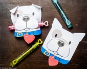 Puppy Classroom Candy or treat Holder valentines cute dog individual candy valentine card Valentine's day bubble tube, pixie stick, pencil